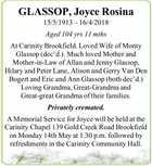 GLASSOP, Joyce Rosina