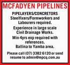 Pipelayers/Concretors, Steelfixers/Formworkers and Labourers
