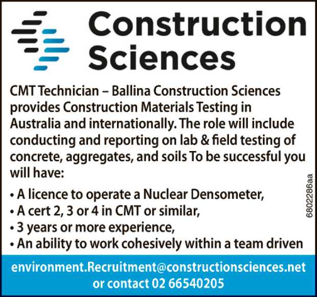 Construction Sciences provides Construction Materials Testing in Australia and internationally.
