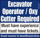 EXCAVATOR OPERATOR / OXY CUTTER