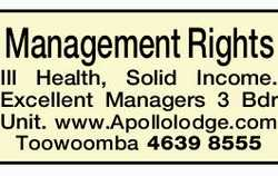 Management Rights    Selling due to Ill Health  Solid Income.  Excellent M...