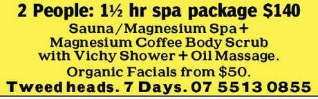 <p> <em>Sauna/ Magnesium Spa + Magnesium Coffee body Scrub.</em> </p> <p> <em>With Vichy...</em></p>