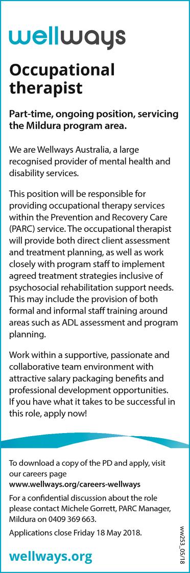 Occupational Therapist  Find A Job  Jobs  Gold Coast Bulletin
