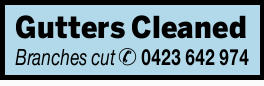 Gutters Cleaned   Branches Cut   Call Andrew: 0423 642 974