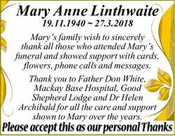 19.11.1940 ~ 27.3.2018 Mary's family wish to sincerely thank all those who attended Mary&rs...