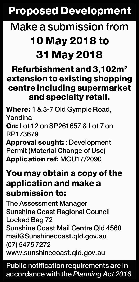 Proposed Development Make a submission from 10 May 2018 to 31 May 2018 Refurbishment and 3,102m&s...