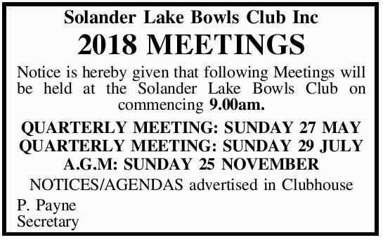 Solander Lake Bowls Club Inc 2018 MEETINGS