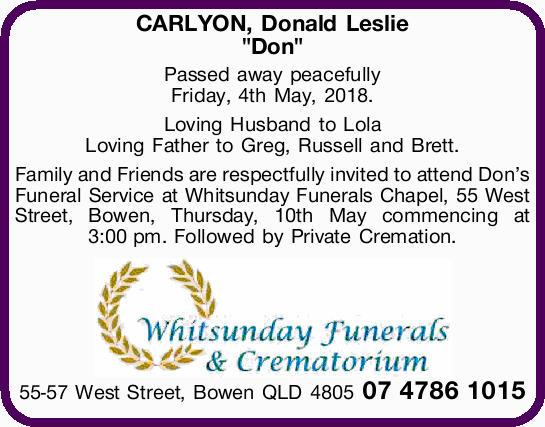 "CARLYON, Donald Leslie   ""Don""   Passed away peacefully   Friday, 4th May 2..."