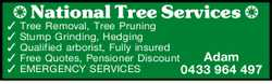 National Tree Services Tree Removal, Tree Pruning Stump Grinding, Hedging Qualified arborist, Ful...
