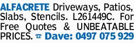 ALFACRETE Driveways, Patios, Slabs, Stencils. L261449C. For Free Quotes & UNBEATABLE PRICES....