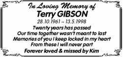 In Loving Memory of  Terry GIBSON  28.10.1961 ~ 13.5.1998  Twenty years has pa...