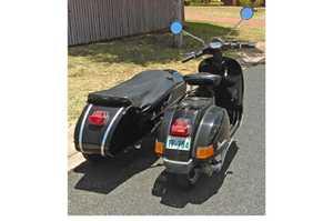 <p> BLACKVESPA PX200E Scooter, Globe Sidecar 2000, 45,000ks, (needs new battery) unreg'd, ex...