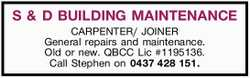 - CARPENTER/ JOINER    - General repairs and maintenance   - Old or new   - QBCC Lic...