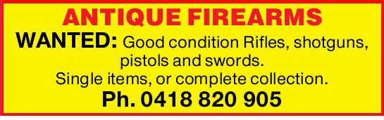 Good condition    Rifles  shotguns,  pistols  swords.  Single it...