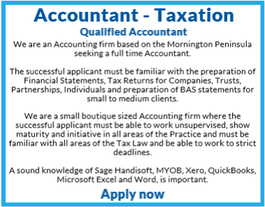 Accountant – TaxationWe are a boutique-sized accounting firm based on the Mornington Peninsula seeki...