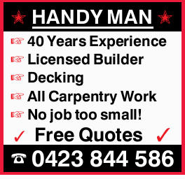 HANDY MAN 40 Years Experience Licensed Builder Decking All Carpentry Work No job too small! Free...