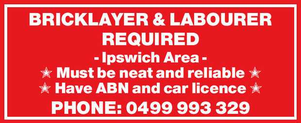 BRICKLAYER & LABOURER REQUIRED 