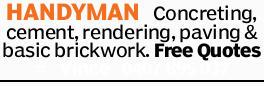 HANDYMAN Concreting, cement, rendering, paving & basic brickwork. Free Quotes Vince
