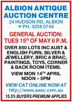 <p> ALBION ANTIQUE AUCTION CENTRE 24 HUDSON RD, ALBION </p> <p> PH. 3256 0744 GENERAL AUCTION:...</p>