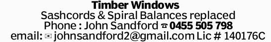 Timber Windows Sashcords & Spiral Balances replaced Phone : John Sandford email: johnsandford...