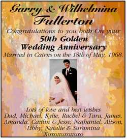 Congratulations to you both On your 50th Golden Wedding Anniversary   Married in Cairns...