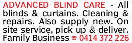 ADVANCED BLIND CARE - All blinds & curtains. Cleaning & repairs. Also supply new. On site...