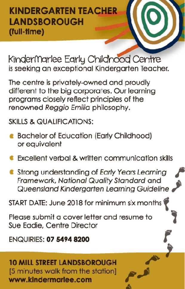 KINDERGARTEN TEACHER (full-time)    Landsborough, Sunshine Coast, Queensland KinderMarlee...