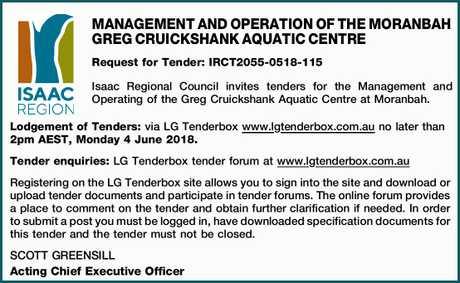 <p> MANAGEMENT AND OPERATION OF THE MORANBAH GREG CRUICKSHANK AQUATIC CENTRE Request for Tender:...