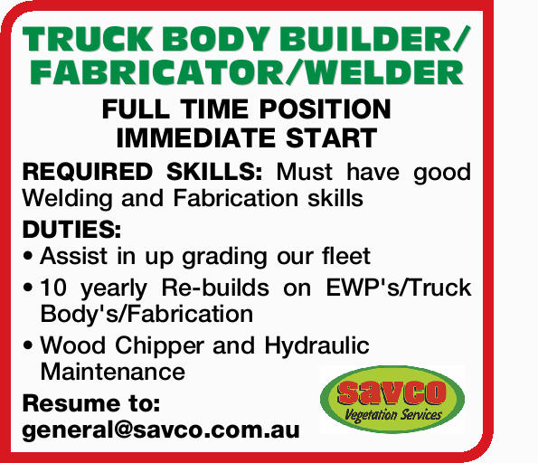 TRUCK BODY BUILDER/FABRICATOR/WELDER