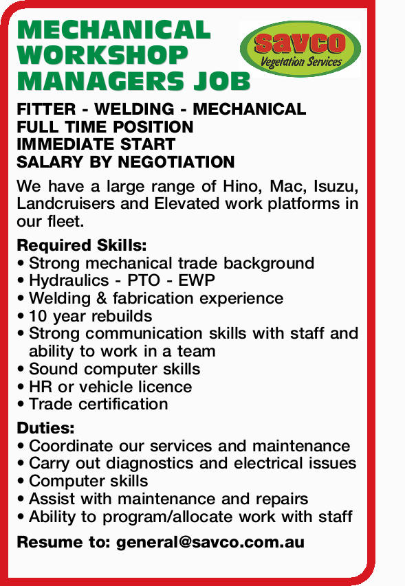 MECHANICAL WORKSHOP MANAGERS JOB