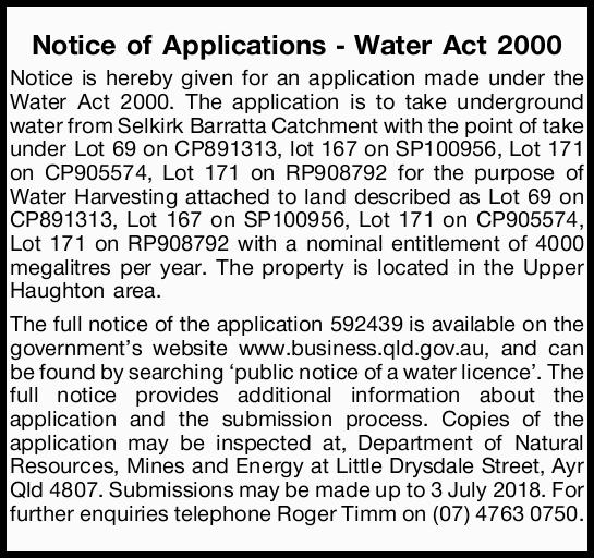 Notice of Applications - Water Act 2000