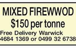 MIXED FIREWWOD $150 per tonne Free Delivery   Warwick   4684 1369 or 0499 32 6738