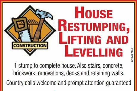 "<p align=""LEFT"" dir=""LTR""> <span lang=""EN-AU"">House Restumping,Lifting and Levelling</span> </p>"