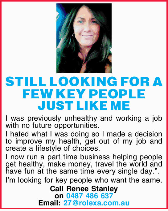 STILL LOOKING FOR A FEW KEY PEOPLE JUST LIKE ME I was previously unhealthy and working a job with...