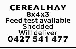 <p> CEREAL HAY </p> <p> 8x4x3 </p> <p> Feed test...</p>