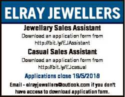 ELRAY JEWELLERS Jewellary Sales Assistant Download an application form from http://bit.ly/EJAssistan...