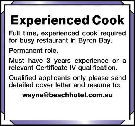 <p> <strong>Experienced Cook</strong> </p> <p>
