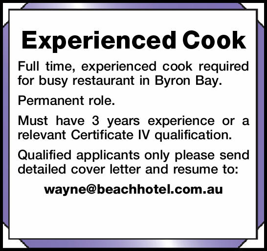 Experienced Cook