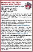 Permanent Part Time Teacher Aide Position