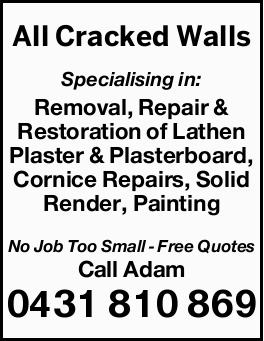 Specialising in:    Removal Repair & Restoration of Lathen Plaster  Removal Repai...