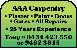 AAA Carpentry Plaster Paint Doors Gates All Repairs 25 Years Experience Tony