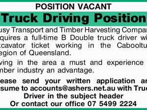 Busy Transport and Timber Harvesting Company requires a full-time B Double truck driver with excavator ticket working in the Caboolture Region of Queensland.   Living in the area a must and experience in timber industry an advantage.   Please send your written application and resume to accounts@ashers.net.au with Truck ...