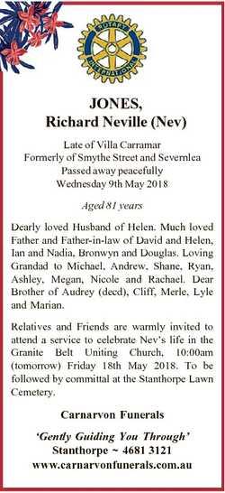 JONES, Richard Neville (Nev) Late of Villa Carramar Formerly of Smythe Street and Severnlea Passed a...