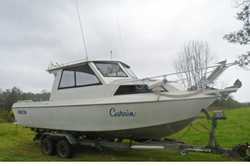 24 1/2' Aluminium Offshore Game Boat, half cabin, 4 cyl, 150 hp, Volvo, turbo diesel, only...