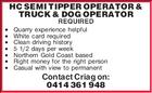 HC SEMI TIPPER OPERATOR & TRUCK & DOG OPERATOR