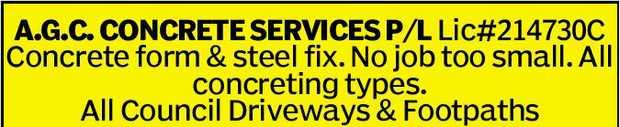 A.G.C. CONCRETE SERVICES    Concrete form & steel fix.   No job too small.  ...