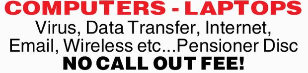 Virus, Data Transfer, Internet, Email, Wireless etc...   Pensioner Discounts   NO CALL OU...