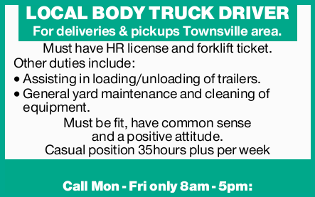 For deliveries & pickups Townsville area.