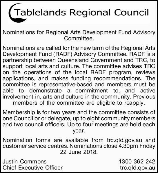 Nominations for Regional Arts Development Fund Advisory Committee.   Nominations are called f...