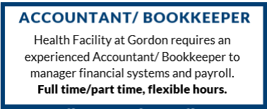 ACCOUNTANT/ BOOKKEEPERHealth Facility at Gordon requires an experienced Accountant/ Bookkeeper to ma...